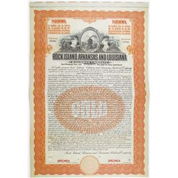Rock Island, Arkansas and Louisiana Railroad Co. 1910 Specimen Bond Payable in Pounds Sterling, Mark