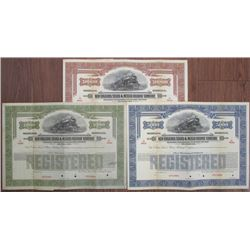 New Orleans, Texas & Mexico Railway Co., 1924 Specimen Bond Trio