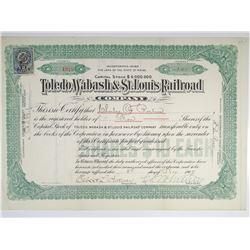 Toledo, Wabash & St. Louis Railroad Co. 1907 I/U Stock Certificate