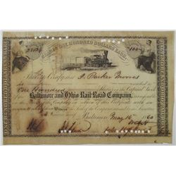 Baltimore and Ohio Rail-Road Co. 1860 I/C Stock Certificate Signed by John Hopkins