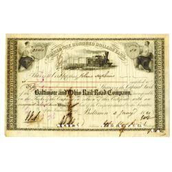 Baltimore & Ohio Rail Road Co., 1861 I/C Stock Certificate ITASB Johns Hopkins