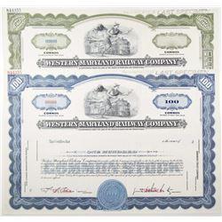 Western Maryland Railway Co., 1940-60's, Specimen Stock Certificate Pair