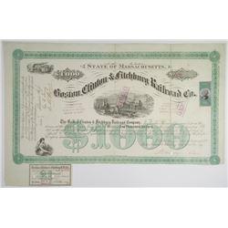 Boston, Clinton & Fitchburg Railroad Co. 1872 I/C Bond