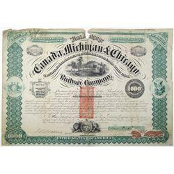 Canada, Michigan & Chicago Railway Co. 1872 I/U Bond With RN-W2 revenue