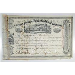 Detroit, Monroe and Toledo Rail Road Co. 1856 I/C Stock Certificate