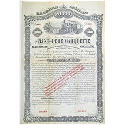 Flint and Pere Marquette Railroad Co. 1880 Specimen Bond Rarity