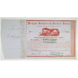 Michigan Southern and Northern Indiana Rail-Road Co. 1857 I/C Stock Certificate