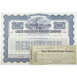 Great Northern Railway Co., 1910 and 1911 Specimen Bond & Paycheck Pair