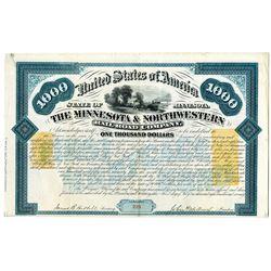 Minnesota & Northwestern Rail Road Co. 1870 I/U Bond with U.S. Imprinted Revenues