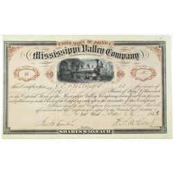 Mississippi Valley Co. 1873 Stock Certificate Signed by Colonel Henry S. McComb