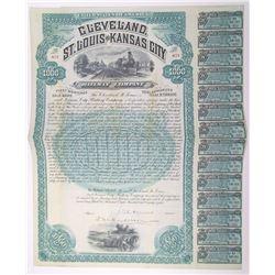 Cleveland, St. Louis and Kansas City Railway Co. 1888 I/U Bond