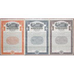 Kansas City Railways Co., 1915 Specimen Bond Trio
