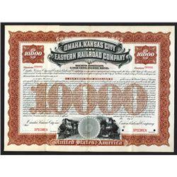 Omaha, Kansas City and Eastern Railroad Co. 1897. Specimen Bond.