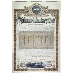 Wabash-Western Railway Company, Ottumwa Division. 1887 Unique Specimen Bond