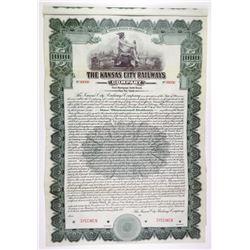 Kansas City Railways Co. 1915 $1000 1st Mortgage Specimen Bond