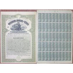 Missouri, Kansas and Texas Railway Co. 1890 Uncancelled Specimen-Proof Bond.