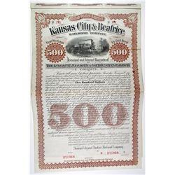 Kansas City & Beatrice Railroad Co. 1889 Specimen Bond Rarity