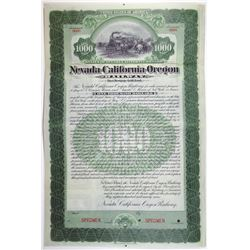 Nevada-California-Oregon Railway 1899 Specimen Bond