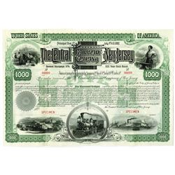 Central Railroad Company of New Jersey, 1887 Specimen Bond