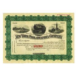 New York-Philadelphia Co. ca. 1900 Specimen Stock Certificate