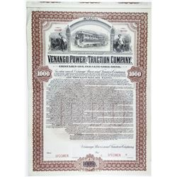 Venango Power and Traction Co. 1901 Specimen Bond Rarity