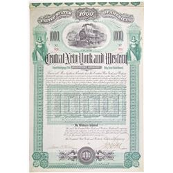 Central New York and Western Railroad Co. 1892 I/U Gold Coupon Bond