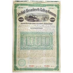 New York and Massachusetts Railway Co. 1887 Specimen Bond Rarity.