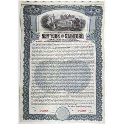 New York and Stamford Railway Co. 1908 Specimen Bond