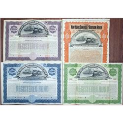 New York Central and Hudson River Railroad Co., 1898 Specimen Bond Quartet.