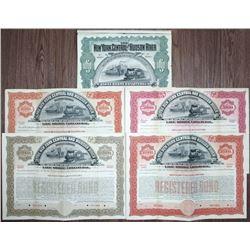 New York Central and Hudson River Railroad Co., 1898 Specimen Bond Quintet