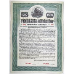 New York Central and Hudson River Railroad Co. 1911 Specimen Bond Rarity