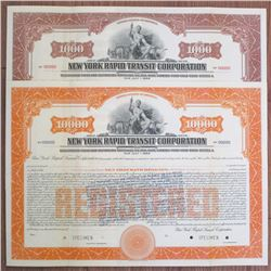 """New York Rapid Transit Corp., 1932 (Reissued 1933) """"With Gold Clause"""" Specimen Bond Pair"""