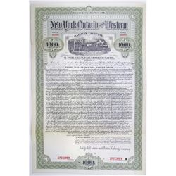 New York, Ontario and Western Railway Co. 1903 Specimen Bond Rarity