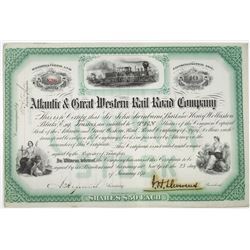 Atlantic & Great Western Rail Road Co. 1874 I/U Stock Certificate Signed by J.H. Devereux, Union Civ