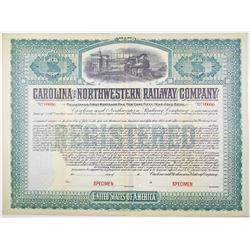 Carolina and Northwestern Railway Co. 1903 Specimen Bond