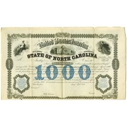 """State of North Carolina, 1869 """"Issued for the Eastern and Western Railroad Co."""", Specimen Bond"""