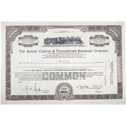 Akron, Canton & Youngstown Railroad Co., 1930-40 Specimen Stock Certificate
