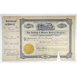 Ashland & Western Railway Co. 1906 I/C Stock Certificate