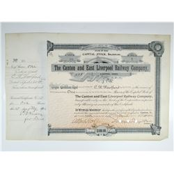 Canton and East Liverpool Railway Co. 1902 I/C Stock Certificate
