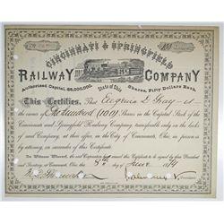 Cincinnati & Springfield Railway Co. 1874 I/C Stock Certificate