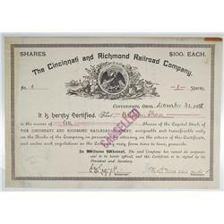 Cincinnati and Richmond Railroad Co. 1888 I/C Stock Certificate