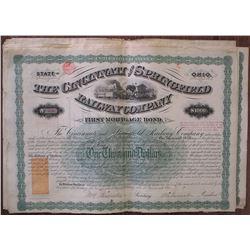 Cincinnati and Springfield Railway Co., 1871 Bond Group of 25 I/C Revenue Imprinted Bonds.