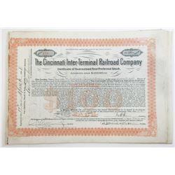Cincinnati Inter-Terminal Railroad Co. 1908 Share Certificate Grouping