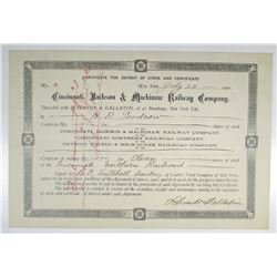 Cincinnati, Jackson & Mackinaw Railway Co. 1901 Issued and Partially Redeemed Certificate for Deposi