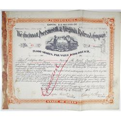 Cincinnati, Portsmouth & Virginia Railroad Co. 1893 I/C Stock Certificate