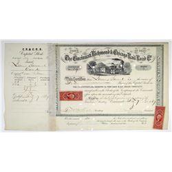 Cincinnati, Richmond & Chicago Rail Road Co. 1867 I/C Stock Certificate