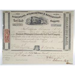 Cincinnati, Wilmington & Zanesville Rail Road Co. 1853 I/U Stock Certificate
