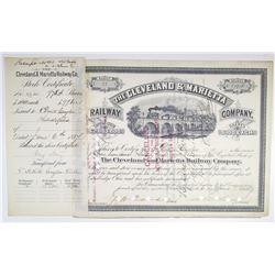 Cleveland & Marietta Railway Co. 1887 I/C Stock Certificate