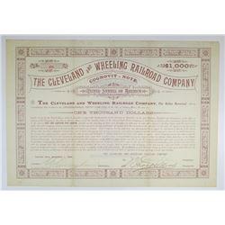 Cleveland and Wheeling Railroad Co. 1888 I/U Bond