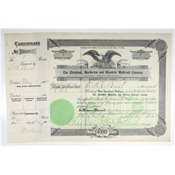 Cleveland, Barberton and Western Railroad Co. 1902 I/C Stock Certificate